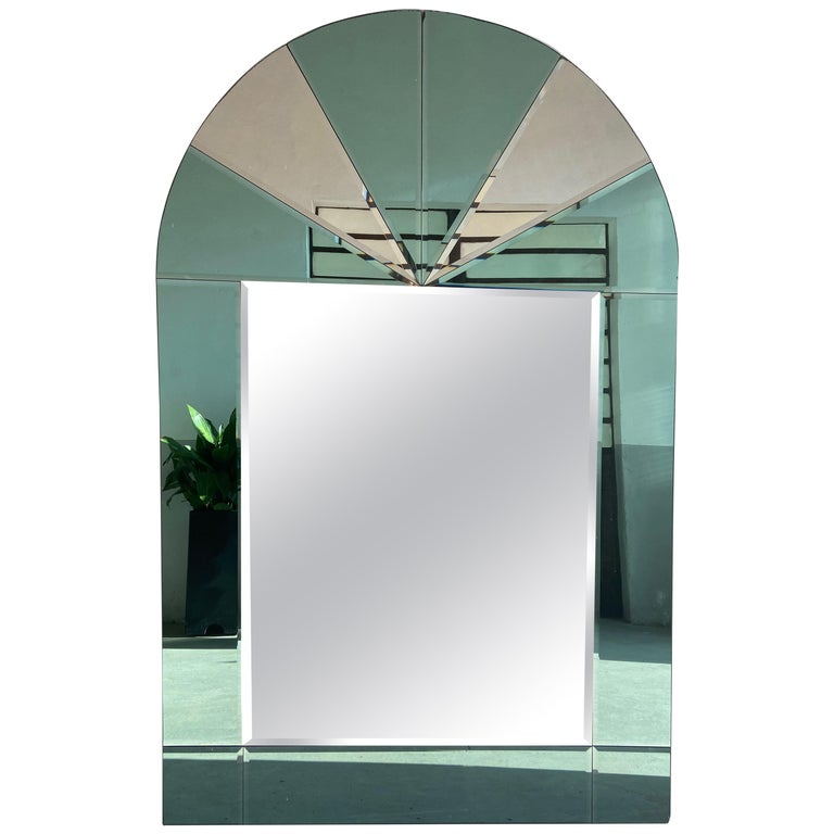 Mid-Century Modern Italian Full Length Wall Mirror with Colored Mirror Inserts For Sale