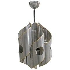 Mid-Century Modern Italian Gaetano Sciolari chrome 6-light chandelier, 1970s