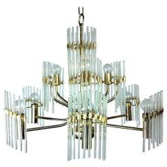 Mid-Century Modern Italian Gaetano Sciolari Crystal Rod and Brass Chandelier
