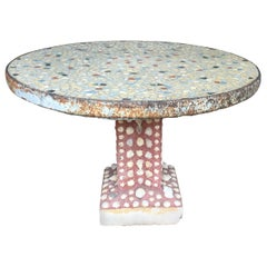 Mid-Century Modern Italian Garden Table with Mosaic and Shells, 1960s
