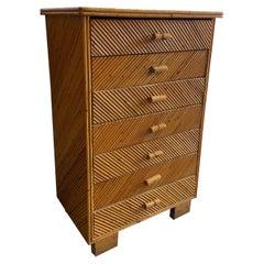 Mid-Century Modern Italian Vivai del Sud Geometric Design Cut Bamboo Dresser