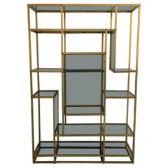 Mid-Century Modern Italian Gilt Aluminum and Smoked Glass Shelves Étagère, 1970s