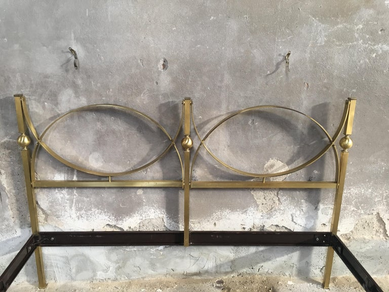 Mid-20th Century Mid-Century Modern Italian Gilt Brass Double Bed, 1960s
