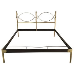 Mid-Century Modern Italian Gilt Brass Double Bed, 1960s