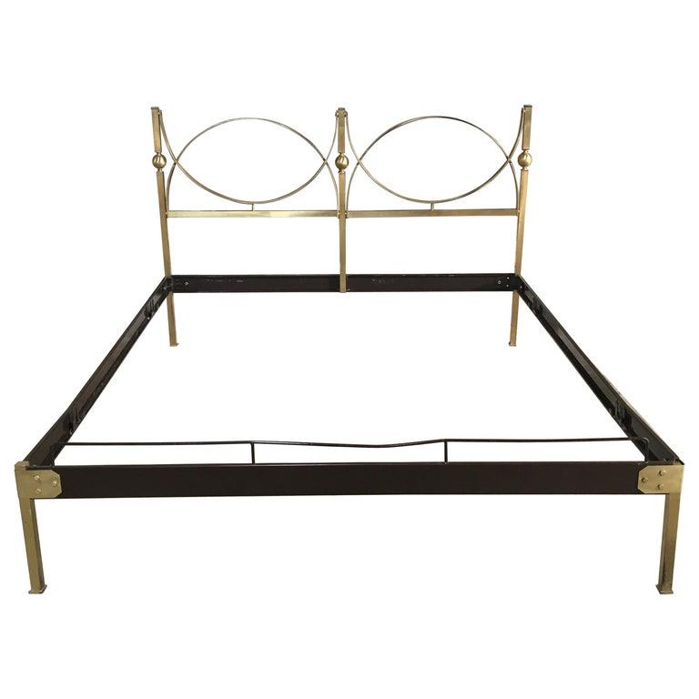 Mid-Century Modern Italian Gilt Brass Double Bed, 1960s