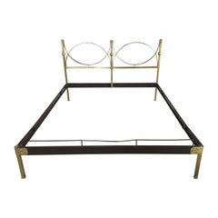 Mid-Century Modern Italian Gilt Brass Double Bed with Lacquered Metal Structure