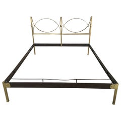 Mid-Century Modern Italian Gilt Brass Double Bed with Lacquered Structure, 1960s