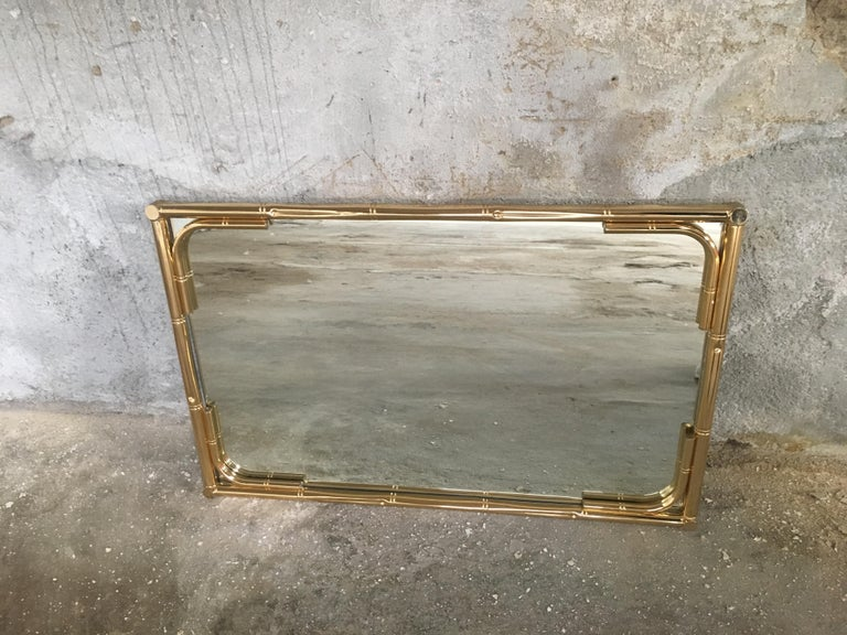 Mid-Century Modern Italian Gilt Faux Bamboo Console with Smoked Glass Top, 1970s For Sale 7