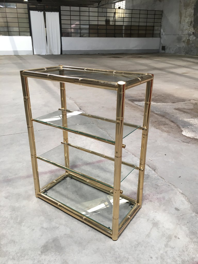 Mid-Century Modern Italian Gilt Faux Bamboo Console with Smoked Glass Top, 1970s For Sale 9