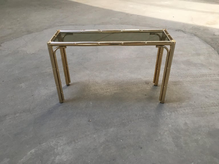 Late 20th Century Mid-Century Modern Italian Gilt Faux Bamboo Console with Smoked Glass Top, 1970s For Sale