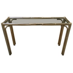 Mid-Century Modern Italian Gilt Faux Bamboo Console with Smoked Glass Top, 1970s