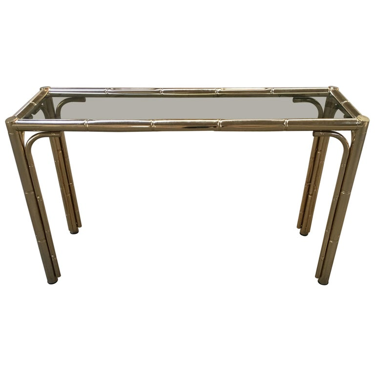 Mid-Century Modern Italian Gilt Faux Bamboo Console with Smoked Glass Top, 1970s For Sale