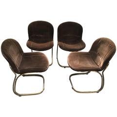 Mid-Century Modern Italian Gilt Metal and Velvet Chairs by Gastone Rinaldi
