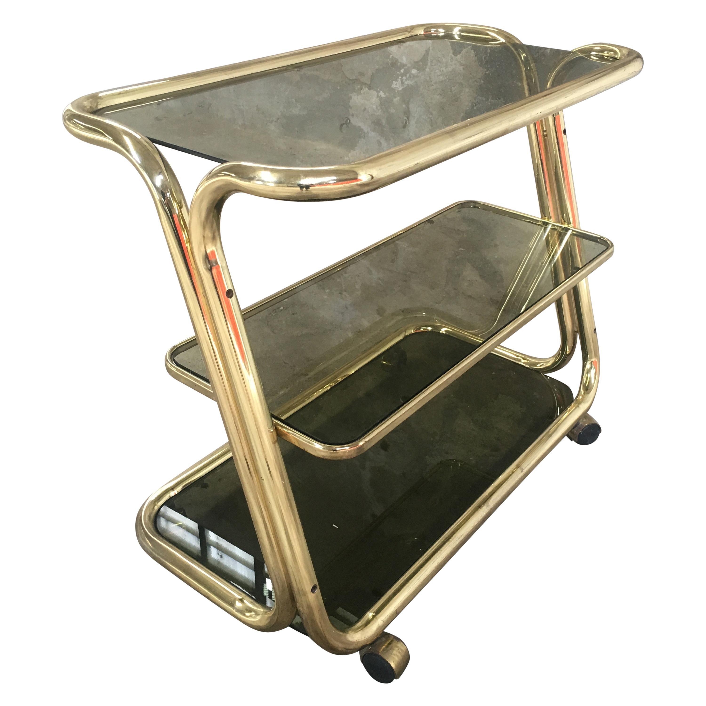 Mid-Century Modern Italian Gilt Metal Bar Cart with Smoked Glass Shelves, 1970s