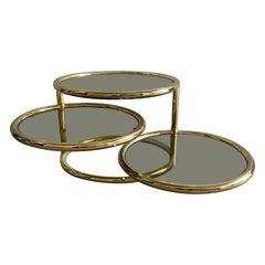 Mid-Century Modern Italian Gilt Metal Coffee Table with Adjustable Shelves 1970s