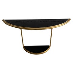 Mid-Century Modern Italian Gilt Metal Console with Black Glasses, 1970s