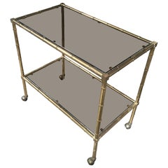 Mid-Century Modern Italian Gilt Metal Faux Bamboo Bar Cart with Glass, 1970s