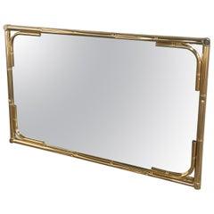 Mid-Century Modern Italian Gilt Metal Faux Bamboo Framed Mirror, 1970s