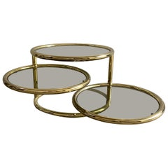 Mid-Century Modern Italian Gilt Metal Round Coffee Table with Adjustable Shelves