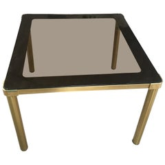Mid-Century Modern Italian Gilt Metal Table with Smoked Glass Top, 1970s