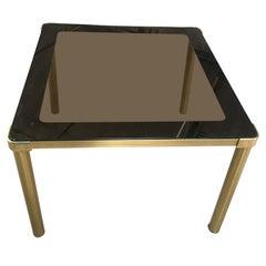 Mid-Century Modern Italian Gilt Metal Table with Smoked Glass Top, 1970s