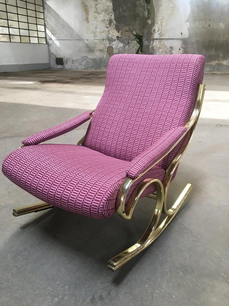 Mid-Century Modern Italian Gilt Metal Upholstered Rocking Chair, 1970s For Sale 6