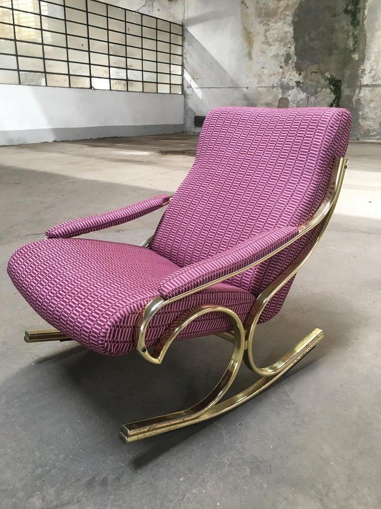 Mid-Century Modern Italian Gilt Metal Upholstered Rocking Chair, 1970s For Sale 7