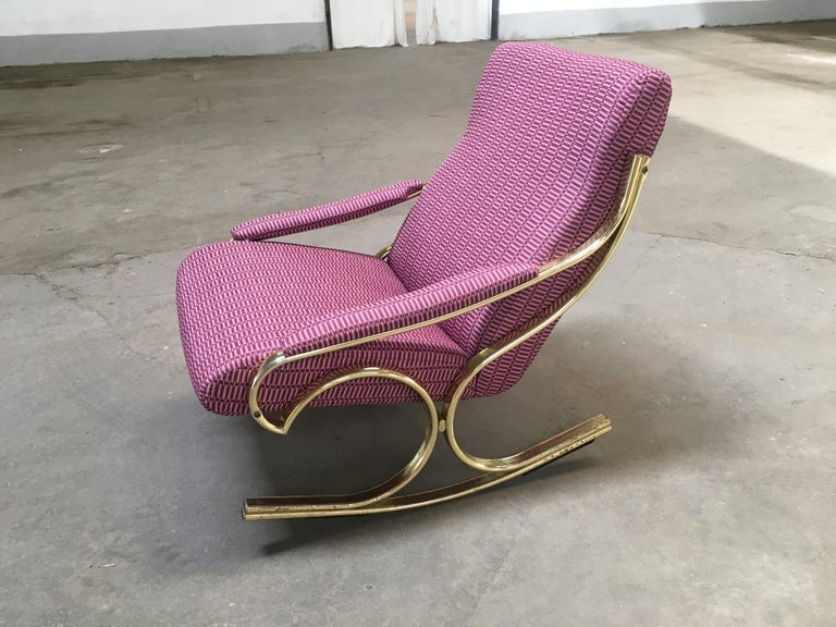 Mid-Century Modern Italian gilt metal rocking chair reupholstered with vintage Rubelli fabric.