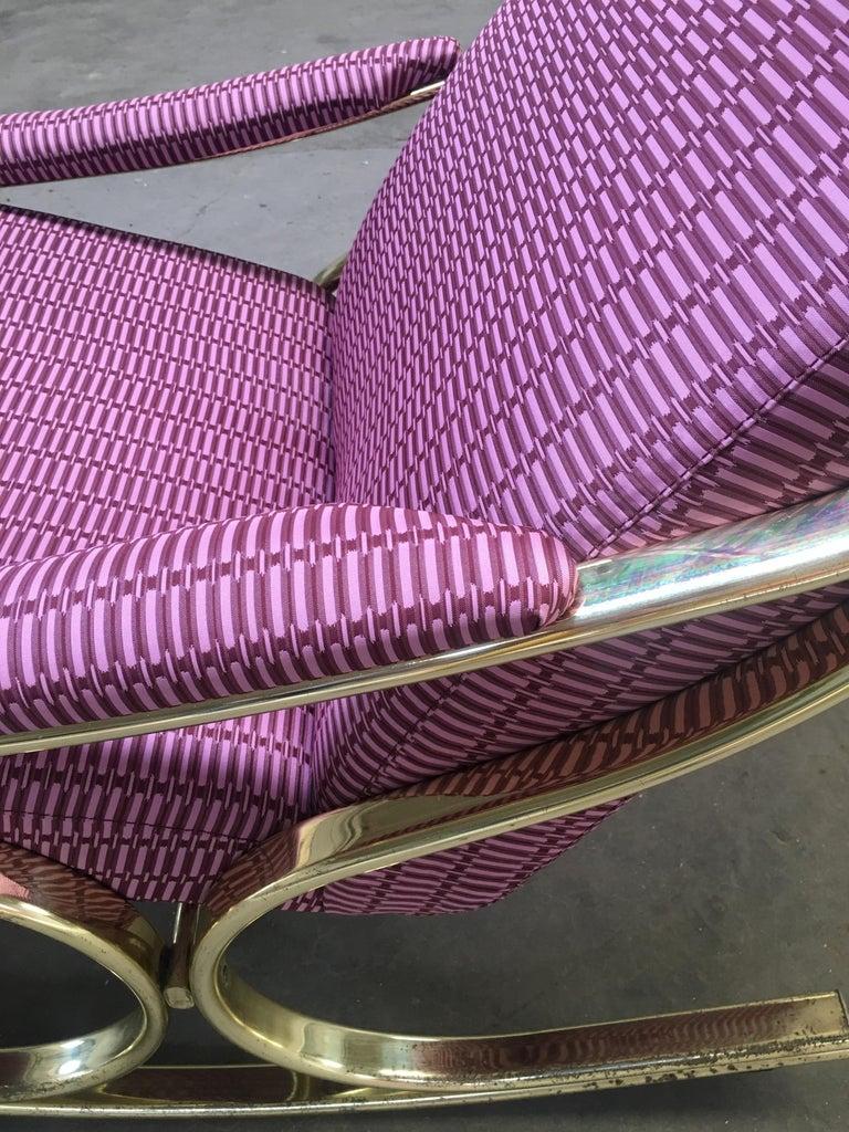 Mid-Century Modern Italian Gilt Metal Upholstered Rocking Chair, 1970s For Sale 1