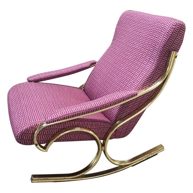 Mid-Century Modern Italian Gilt Metal Upholstered Rocking Chair, 1970s For Sale