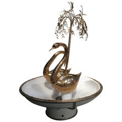 Mid-Century Modern Italian Gilt Swans and Weeping Willow Fountain, 1970s