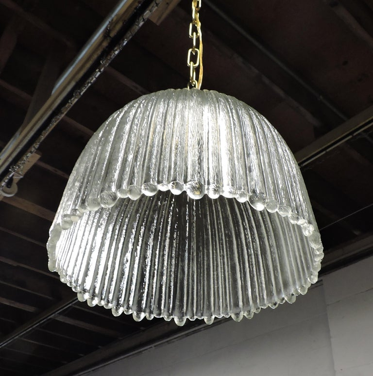 Mid-Century Modern Italian Glass Dome Pendant Light In Excellent Condition For Sale In Chesterfield, NJ