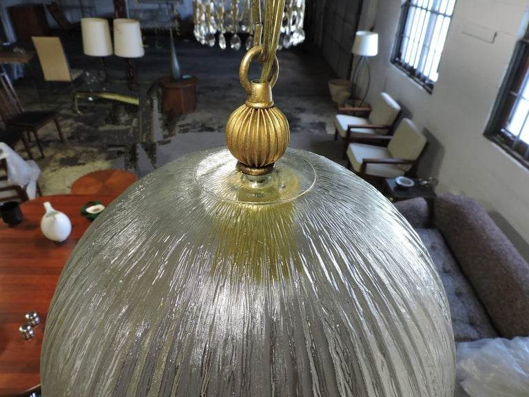 Mid-Century Modern Italian Glass Dome Pendant Light For Sale 1