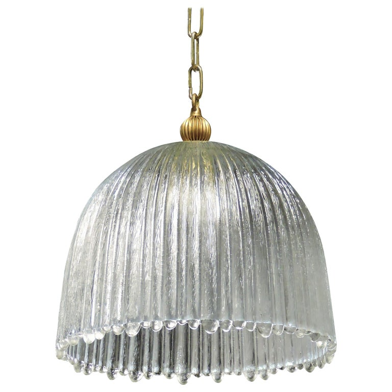 Mid-Century Modern Italian Glass Dome Pendant Light For Sale