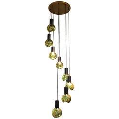 Gino Sarfatti Mid-Century Modern Italian Glass Orb Cascading Chandelier