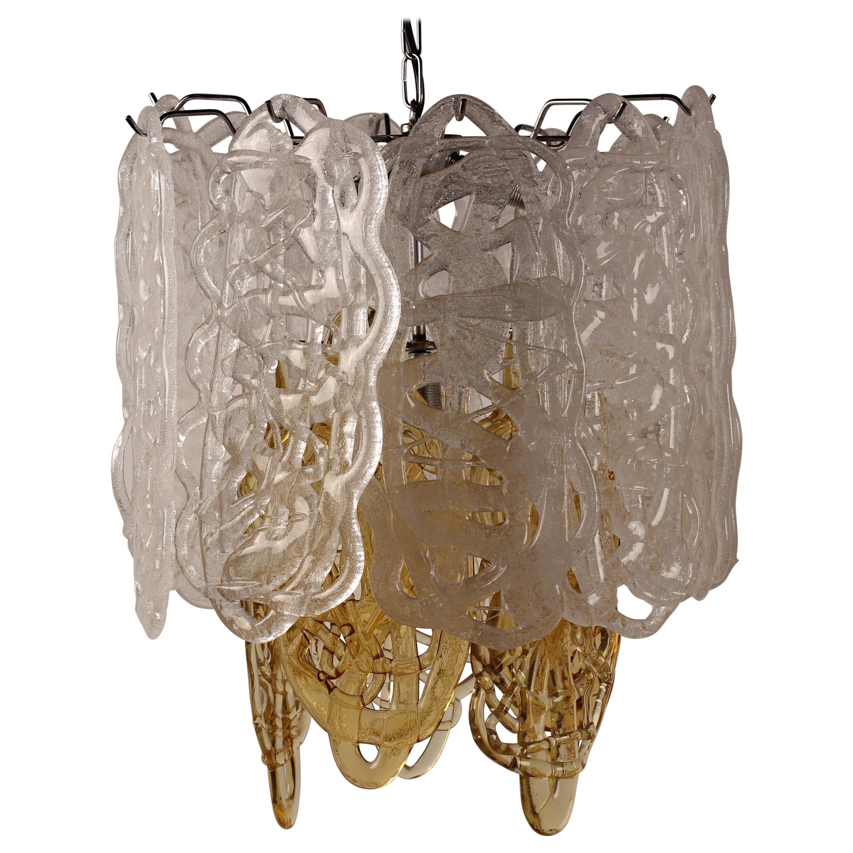 Mid-Century Modern Italian Glass Pendant Light by Mazzega