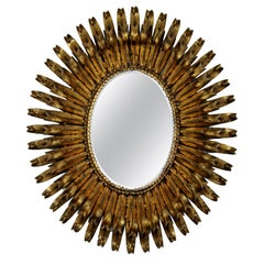 Mid-Century Modern Italian Gold Gilt Metal Oval Wall Mirror Sculpture, 1960s