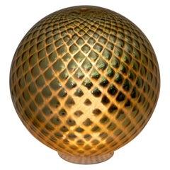 "Mid-Century Modern Italian Gold Murano Glass ""Diamont Sphere"" Table Lamp, 1970s"