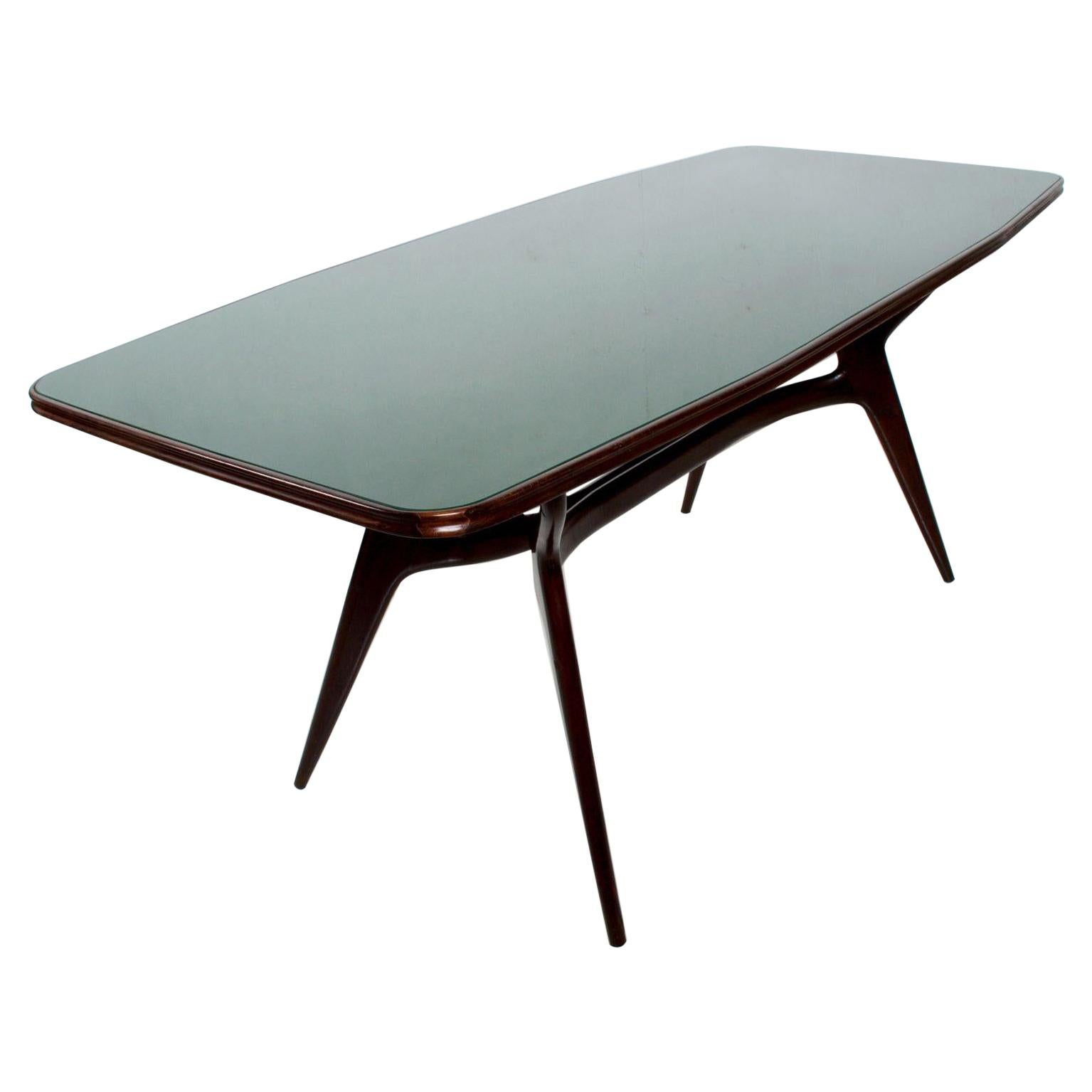 Mid-Century Modern Italian Green Dining Table after Ico Parisi, 1950s