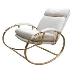 Mid-Century Modern Italian Guido Faleschini Gilt Metal Lounge Rocking Chair