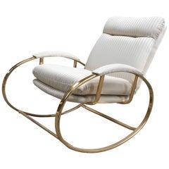 Mid-Century Modern Italian Guido Faleschini Gilt Metal Lounge Rocking Chair