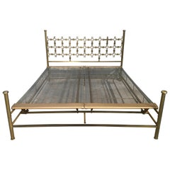 Mid-Century Modern Italian Hammered Bronze Double Bed by Borsani and Pomodoro