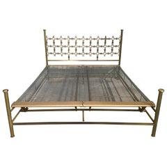 Mid-Century Modern Italian Hammered Bronze Double Bed by Borsani and Pomodoro