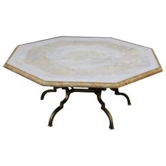 Mid-Century Modern Italian Inlaid Marble and Brass Octagonal Coffee Table