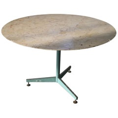 Mid-Century Modern Italian Iron Base Table with Marble Top, 1960s
