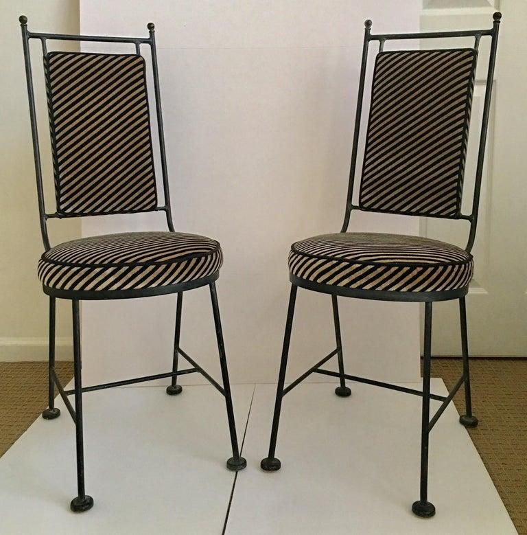 Sleek Mid-Century Modern Iron and Striped Salterini Style Chairs, Italian  In Good Condition For Sale In Lambertville, NJ