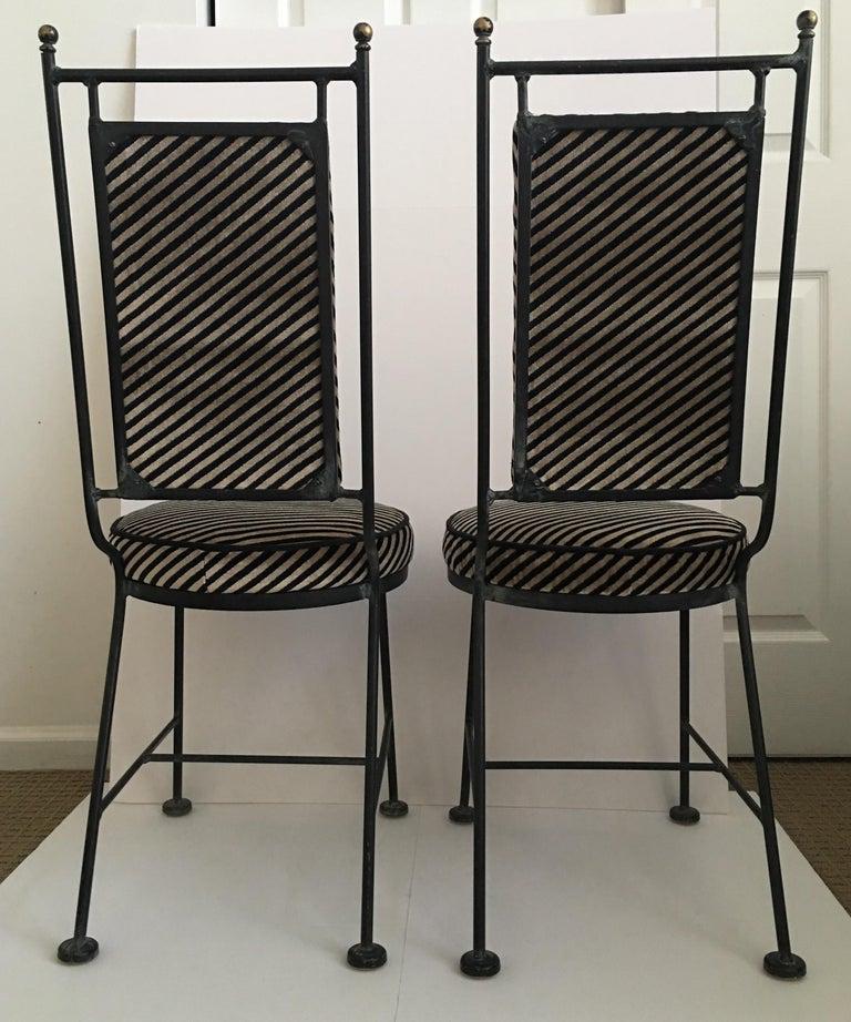Mid-20th Century Sleek Mid-Century Modern Iron and Striped Salterini Style Chairs, Italian  For Sale