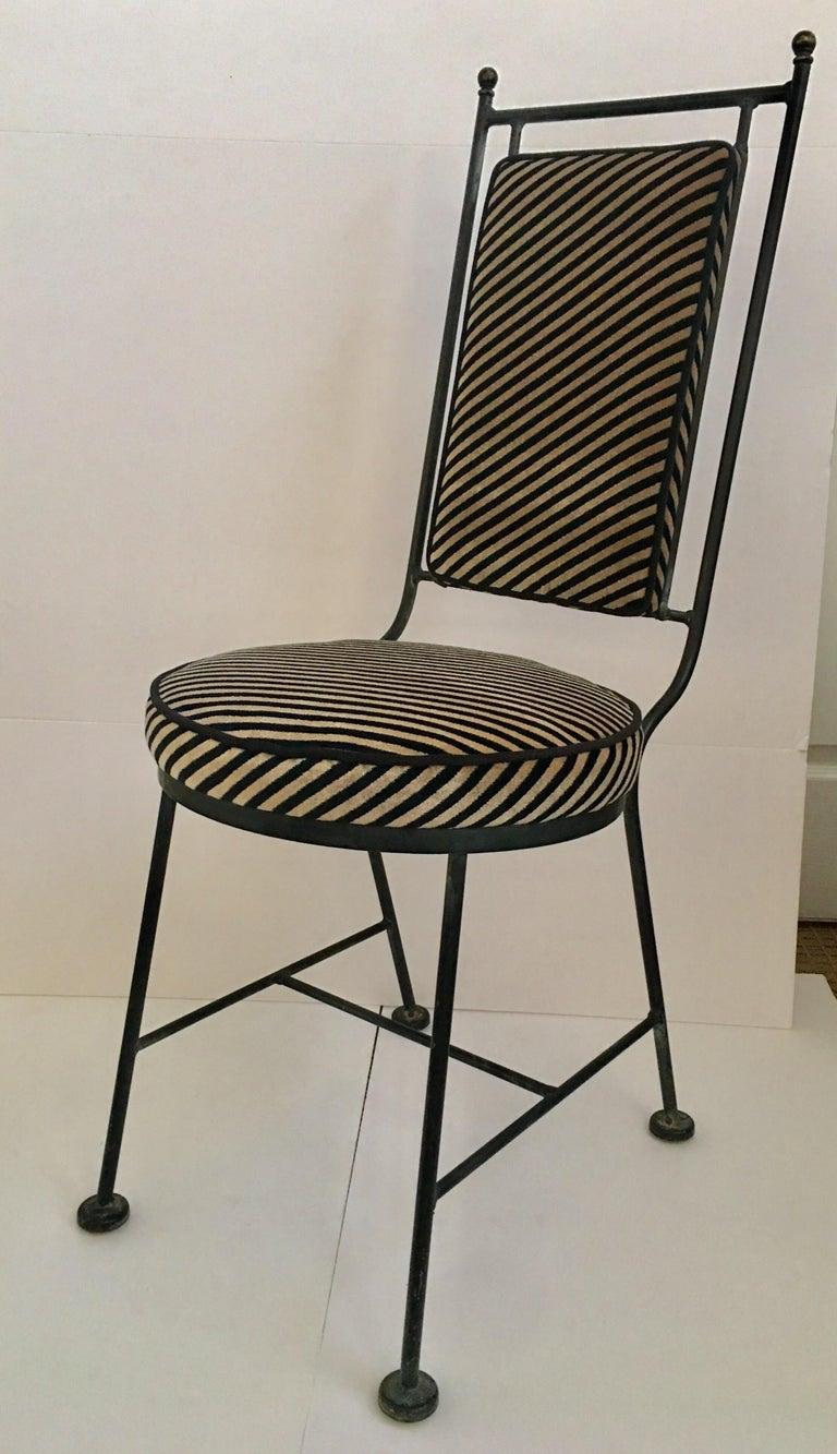 Metal Sleek Mid-Century Modern Iron and Striped Salterini Style Chairs, Italian  For Sale