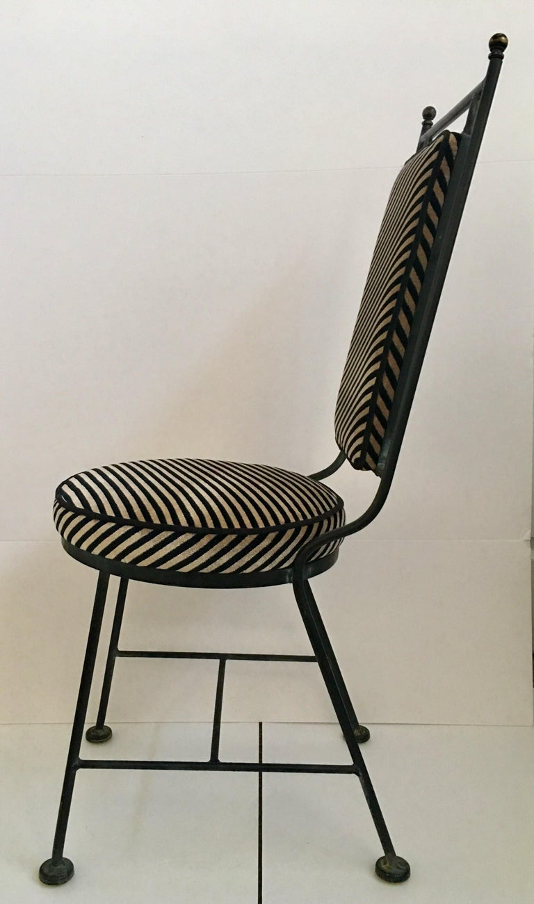 Sleek Mid-Century Modern Iron and Striped Salterini Style Chairs, Italian  For Sale 1