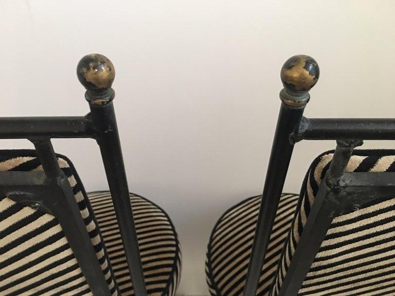 Sleek Mid-Century Modern Iron and Striped Salterini Style Chairs, Italian  For Sale 2